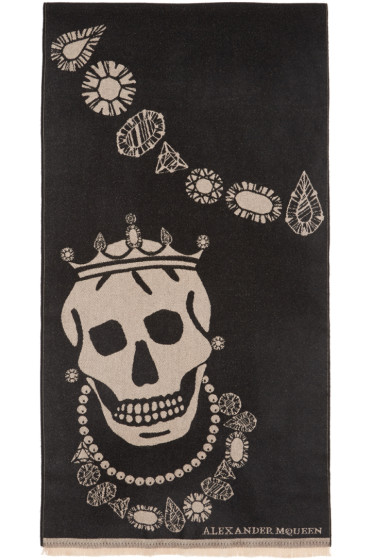 Alexander McQueen - Black Kings & Queens Scarf