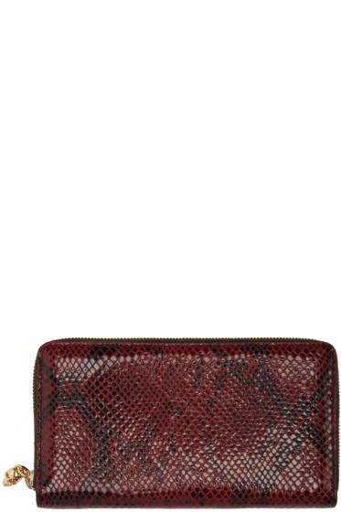 Alexander McQueen - Burgundy Snake-Embossed Zip Skull Wallet
