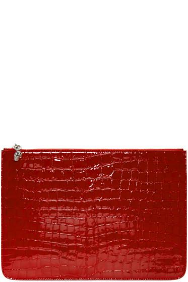 Alexander McQueen - Red Croc-Embossed Pouch