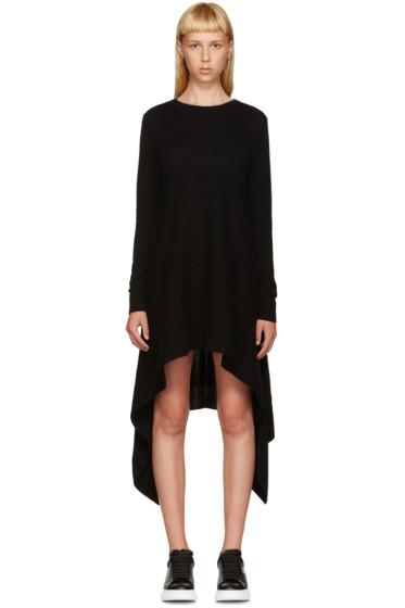 Alexander McQueen - Black Cashmere Asymmetric Dress