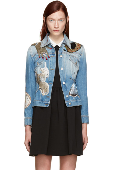 Alexander McQueen - Blue Embellished Denim Jacket