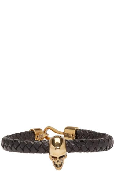 Alexander McQueen - Black Leather Skull Bracelet