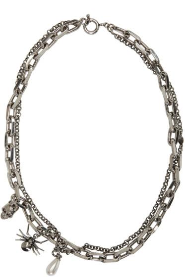 Alexander McQueen - Silver Layered Skull & Spider Necklace