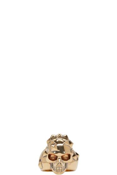 Alexander McQueen - Gold Brass Skull Ring