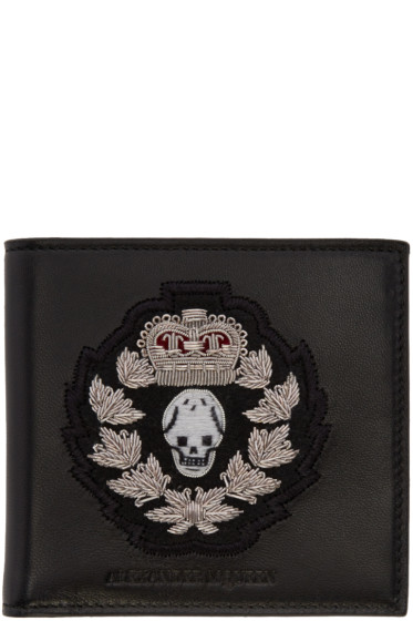 Alexander McQueen - Black Leather Embroidered Wallet