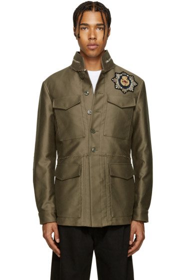 Alexander McQueen - Taupe Embellished Military Jacket