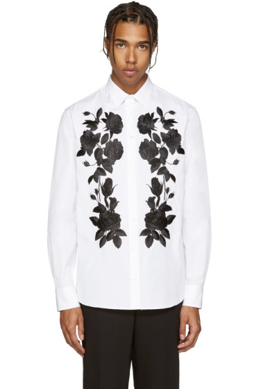 Alexander McQueen - White Embroidered Floral Shirt