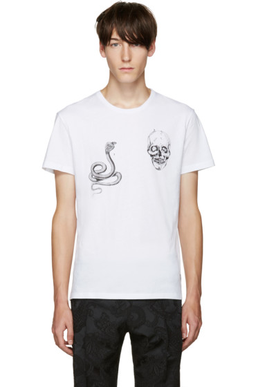 Alexander McQueen - White Animal & Skull T-Shirt
