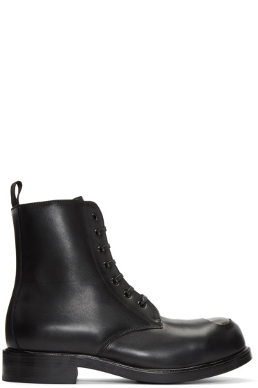 Alexander McQueen - Black Steel Toe Boots