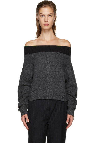 Opening Ceremony - Grey Off-The-Shoulder Sweater