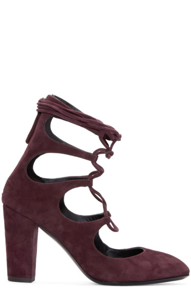 Giuseppe Zanotti - Burgundy Suede Lace-Up Heels