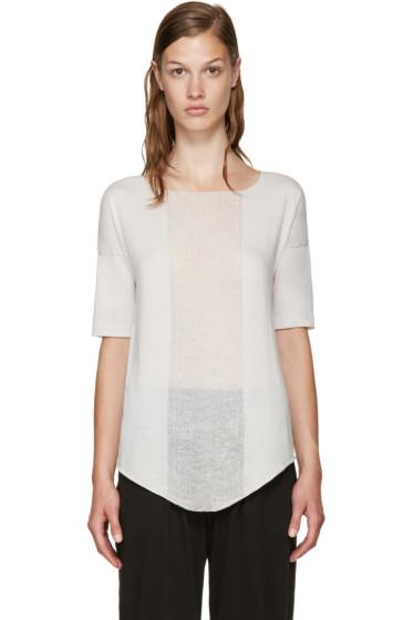 Raquel Allegra - White Distressed Basic T-Shirt