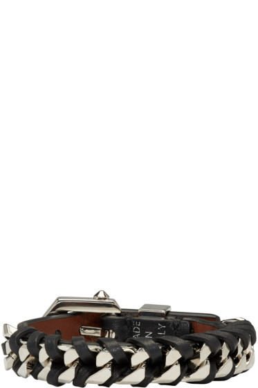 Givenchy - Black & Silver Leather Chain Bracelet