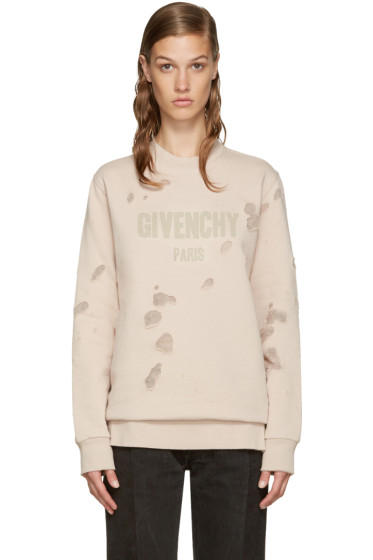 Givenchy - Pink Destroyed Logo Pullover