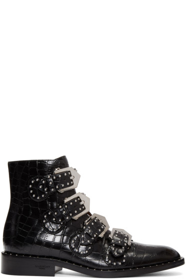 Givenchy - Black Croc-Embossed Ankle Boots