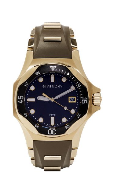 Givenchy - Brown & Gold Five Shark Watch