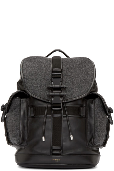 Givenchy - Grey Wool & Leather Obsedia Backpack