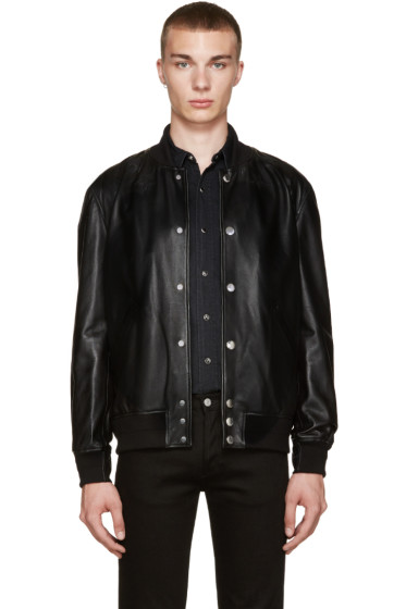 Givenchy - Black Leather Stars Bomber Jacket