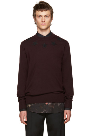 Givenchy - Burgundy Wool Stars Sweater