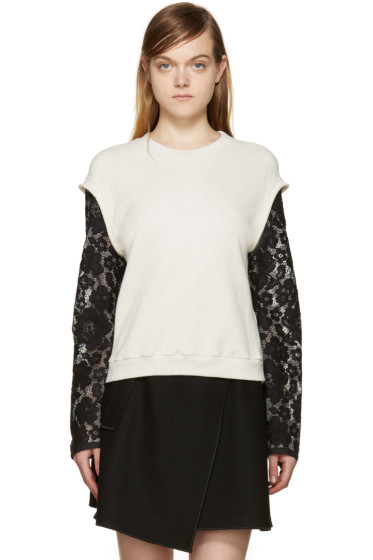 3.1 Phillip Lim - Cream & Black Lace Sleeve Pullover