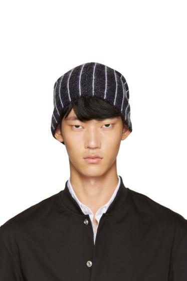 3.1 Phillip Lim - Navy Wool Pinstripe Beanie