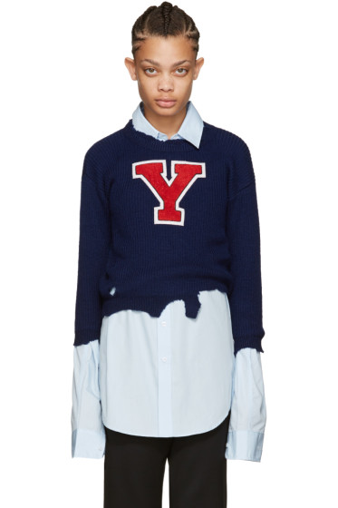 Raf Simons - Navy Destroyed 'Y' Sweater