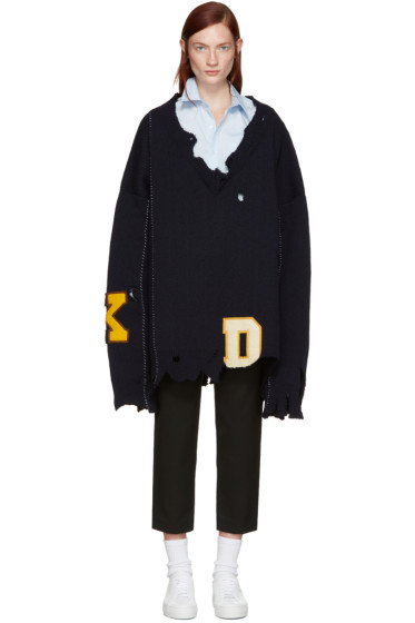 Raf Simons - Navy Oversized Destroyed Sweater