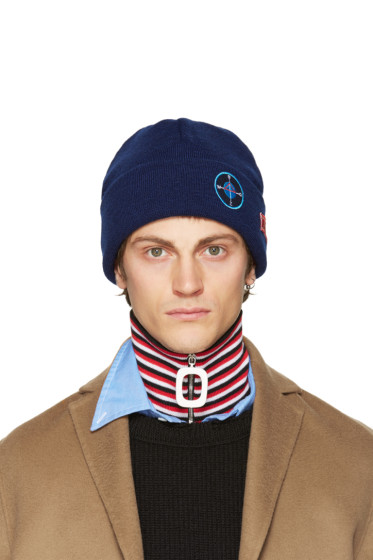 Raf Simons - Navy Wool Patches Beanie