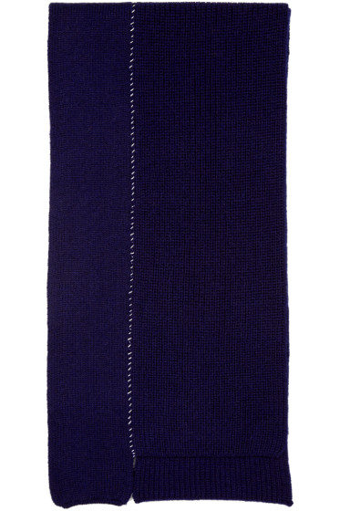 Raf Simons - Navy Wool Panelled Scarf