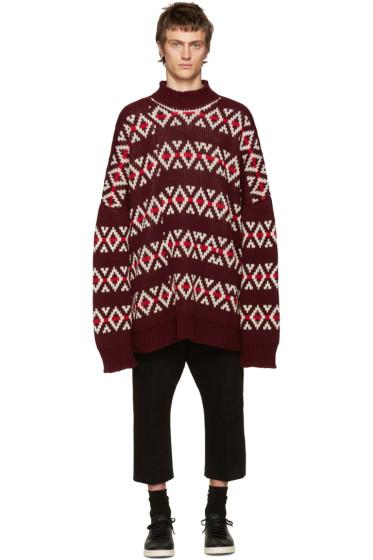 Raf Simons - Burgundy Wool Jacquard Sweater