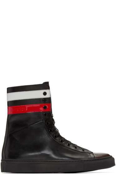 Raf Simons - Black Leather Stripes High-Top Sneakers