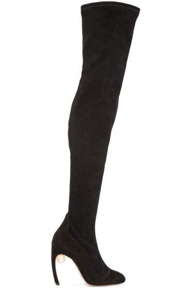 Nicholas Kirkwood - Black Suede Over-The-Knee Boots