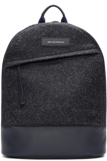 Want Les Essentiels - Navy Wool Kastrup Backpack