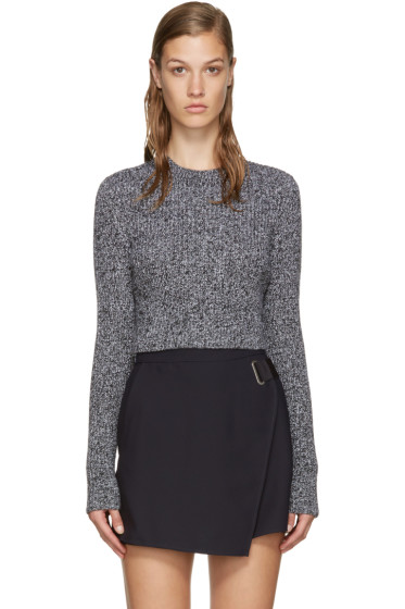 Carven - Black & White Cropped Sweater