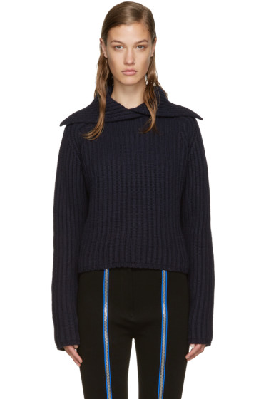 Carven - Navy Vented Collar Sweater