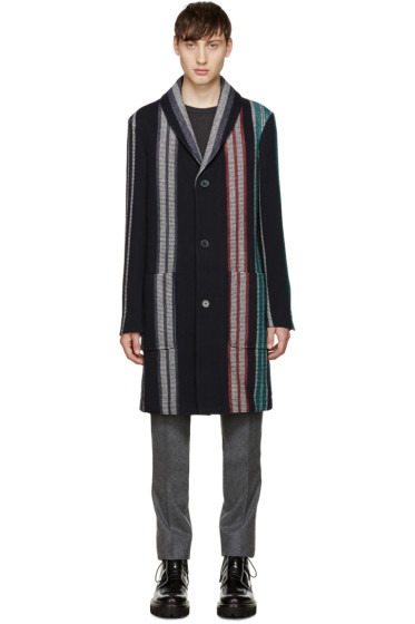 Carven -  Navy Stripe Tape Coat
