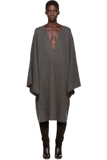 Chloé - Grey Deep-V Cashmere Dress