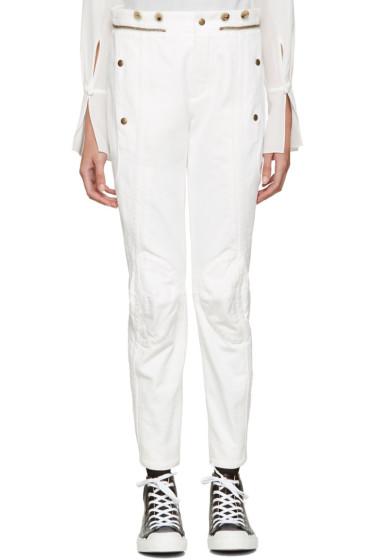 Chloé - White Utilitarian Biker Jeans