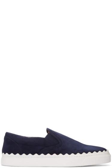Chloé - Navy Suede Ivy Slip-On Sneakers