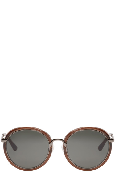 Dries Van Noten - Brown Round Sunglasses