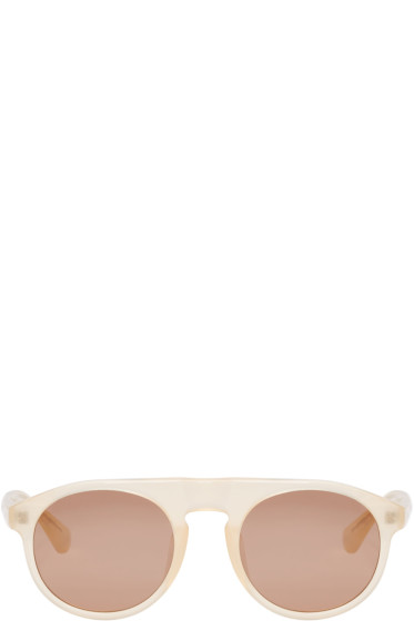 Dries Van Noten - Beige Linda Farrow Edition Flat-Top Sunglasses