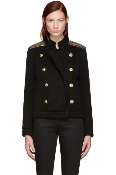 Pierre Balmain - Black Embellished Double-Breasted Cardigan