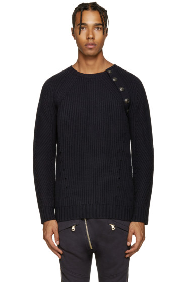 Pierre Balmain - Navy Ribbed Sweater