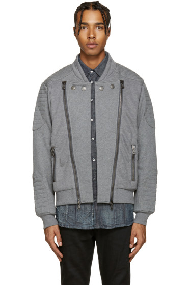 Pierre Balmain - Grey Zip-Up Moto Sweater