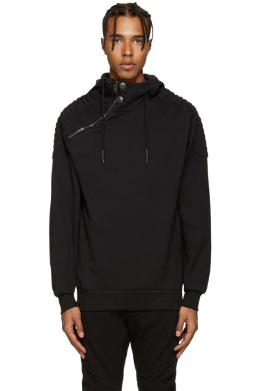 Pierre Balmain - Black Off-Center Hoodie