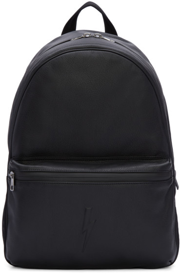 Neil Barrett - Black Embossed Thunderbolt Backpack