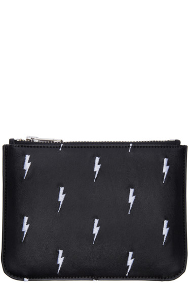 Neil Barrett - Black Embroidered Thunderbolt Pouch