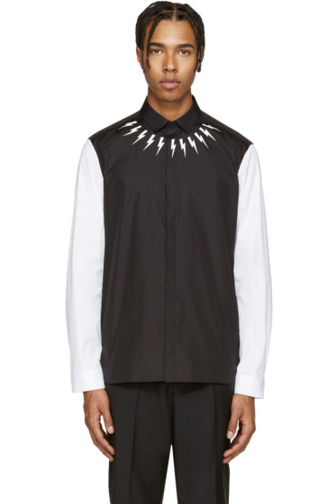 Neil Barrett - Black & White Thunderbolt Shirt