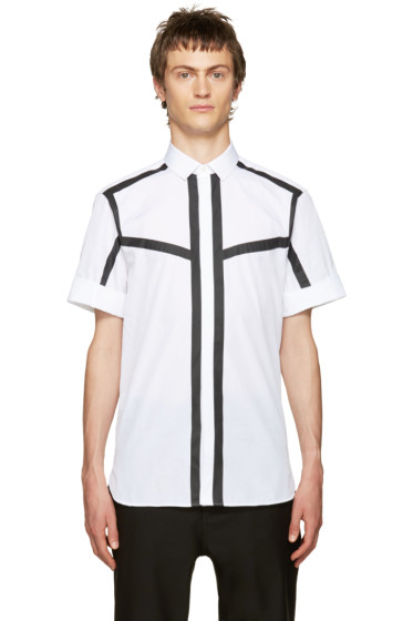 Neil Barrett - White & Black Poplin Striped Shirt
