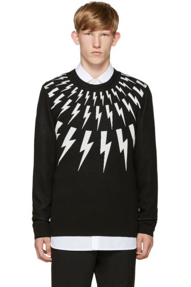 Neil Barrett - Black & White Thunderbolt Sweater